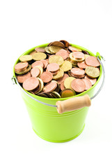 Euro Coins in a Bucket