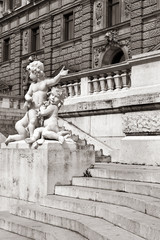 Hofburg Palace stairs and scultures in sepia, Vienna