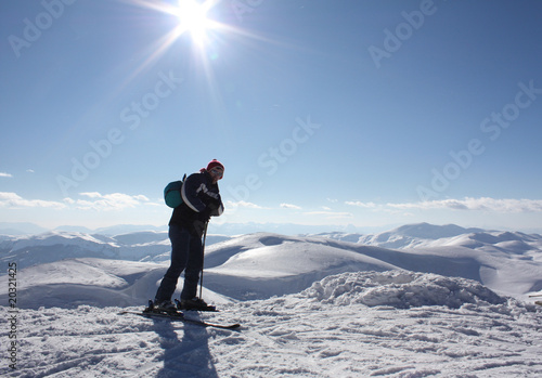 Skier on high mountain
