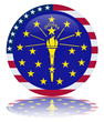 Indiana State Round Flag Button (USA America Vector Reflection)
