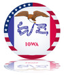 Iowa State Round Flag Button (Iowan USA Vector Reflection Web)