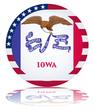 Iowa State Round Flag Button (Iowan USA Vector Reflection Web)