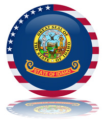 State of Idaho Round Flag Button (Idahoan USA Vector Reflection)