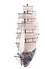old sailship model isolated on white