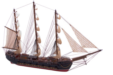 old frigate ship model isolated on white