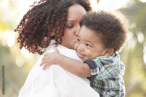 canvas print picture Mother and son outdoors
