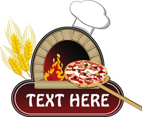 vector illustration of oven with pizza
