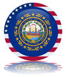 New Hampshire State Flag Round Button (USA NH Vector Reflection)