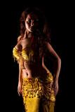 beautiful Bellydancer in golden costume, low key
