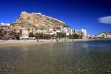 Fototapety Playa del Postiguet y Castillo de Santa Barbara Alicante