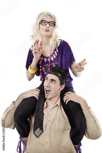 Blonde sit on shoulders of her boyfriend