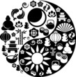 Yin Yang made from Zen icons - vector illustration