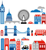 Vector silhouettes of London landmarks - European cities series poster