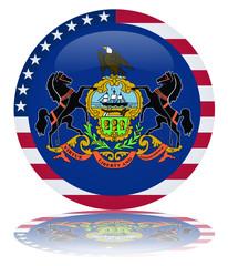 Pennsylvania Flag Round Button (Pennsylvanian Vector Reflection)