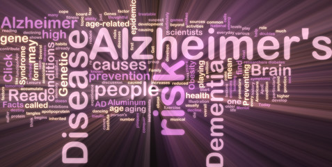 Alzheimer's disease wordcloud glowing