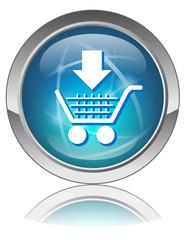 "Bouton web vecteur ""AJOUTER AU PANIER"" (caddie e-shopping bleu)"
