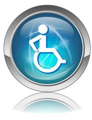 Bouton web bleu HANDICAP (Symbole Signe Panneau Rond Vecteur OK)