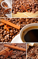 Coffee collage made of five pictures