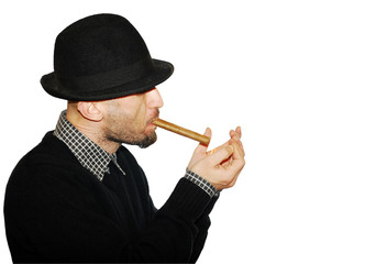 Man In Black Hat With Cigar