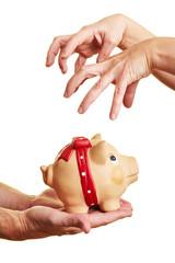 Gieriger Griff nach Geld