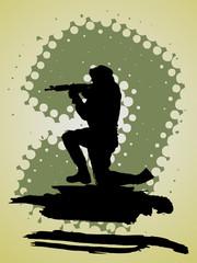 Soldat mit Gewehr im Anschlag-Silhouette