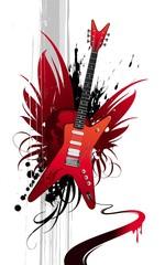 Heavy metal winged red guitar