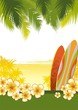 Illustration with surfboards and tropical landscape