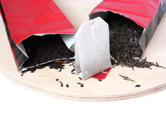 black green tea and paper  teabag