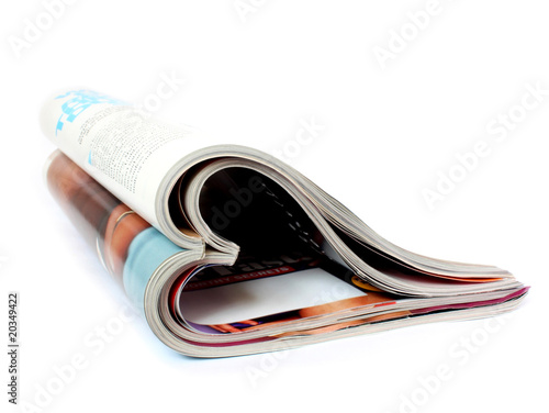 two magazines in form of heart isolated over white - 20349422
