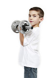 Healthy lifestyle child exercising dumbbell weight poster
