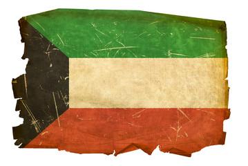 Kuwait Flag old, isolated on white background.