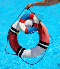 Group of life buoy on water. Concept.