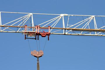 Fragment of a steel design of the hoisting crane