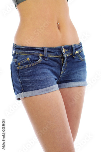 beautiful woman's waist isolated on a white background