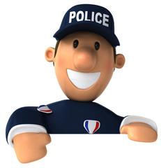 Policier et panneau blanc