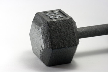 gray metal dumbell macro