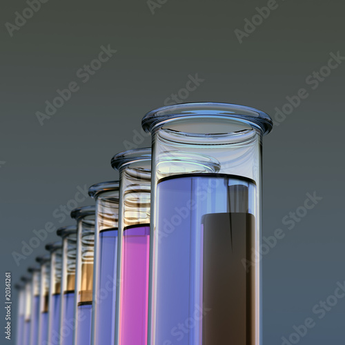 Ten test tubes with two colored liquids