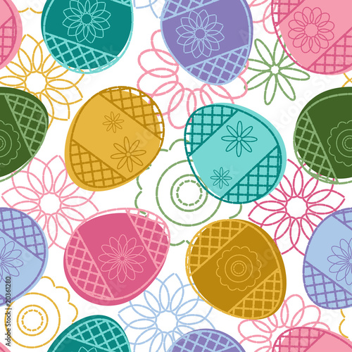 Materiał do szycia Easter seamless pattern with decorated eggs