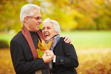 Senioren lachen im Park