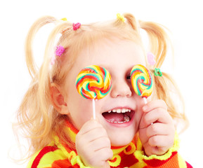 smile girl with candy isolated on white
