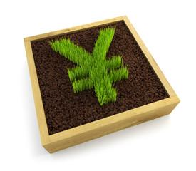 growing yen symbol