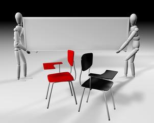 silla roja y negra con cartel 2