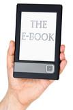 Modern ebook reader in hand poster
