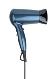 Compact blue hairdryer poster