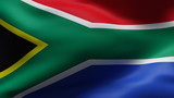 Creased South africa cotton  flag in wind in slow motion poster
