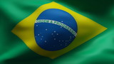 Creased Brazil cotton  flag in wind in slow motion poster
