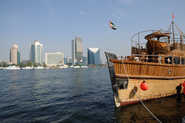 Traditional Arabic wooden ship at Dubai Creek, UAE
