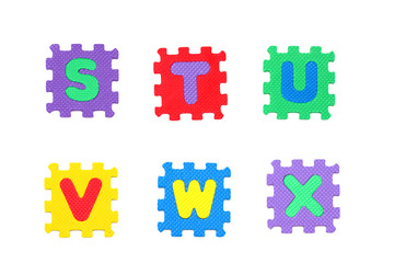 s, t, u, v, w, x letter puzzle, isolated on white background