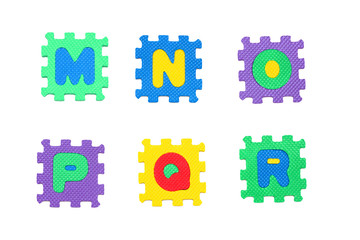 M, n, o, p, q, r letter puzzle, isolated on white background