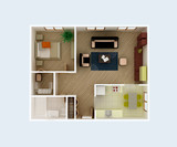 Clear 3d apartment floor plan interior idea. Top View.